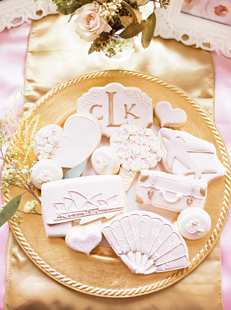 travel themed wedding cookies