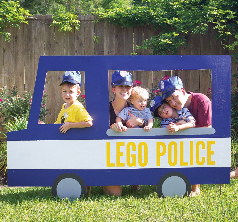 wooden police car photo booth