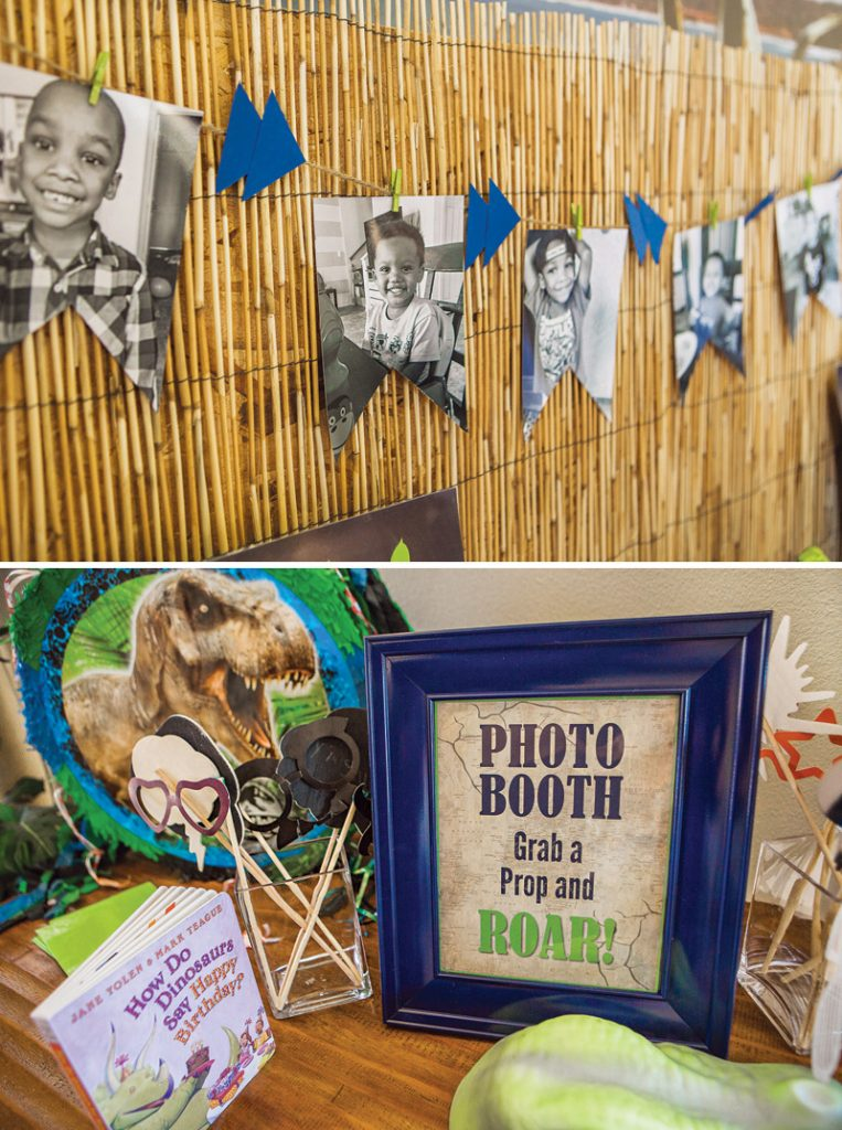 DIY boy's birthday party dinosaur photo booth