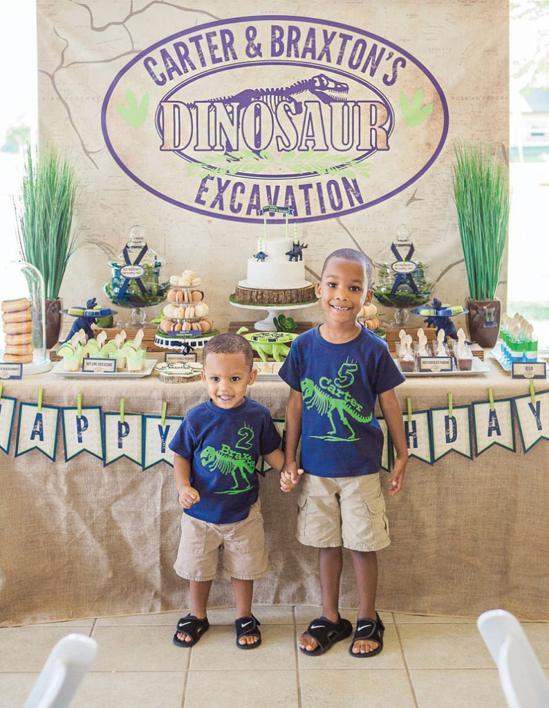brothers' joint dinosaur party
