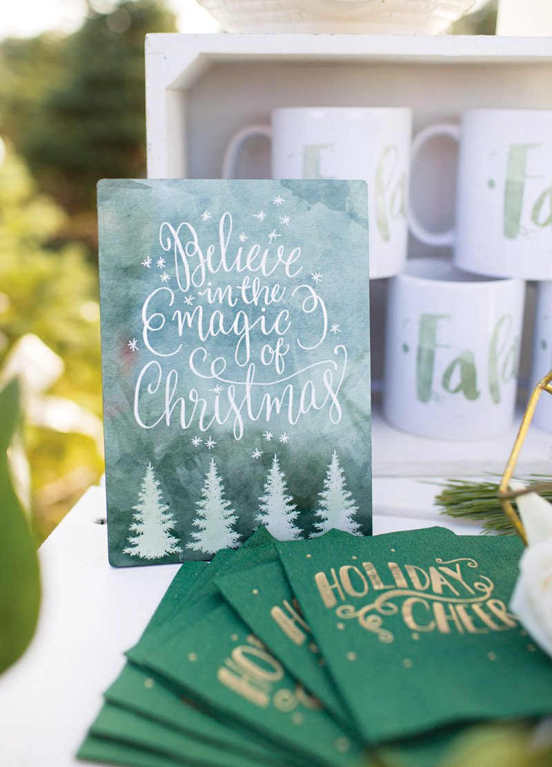 christmas party typography signs