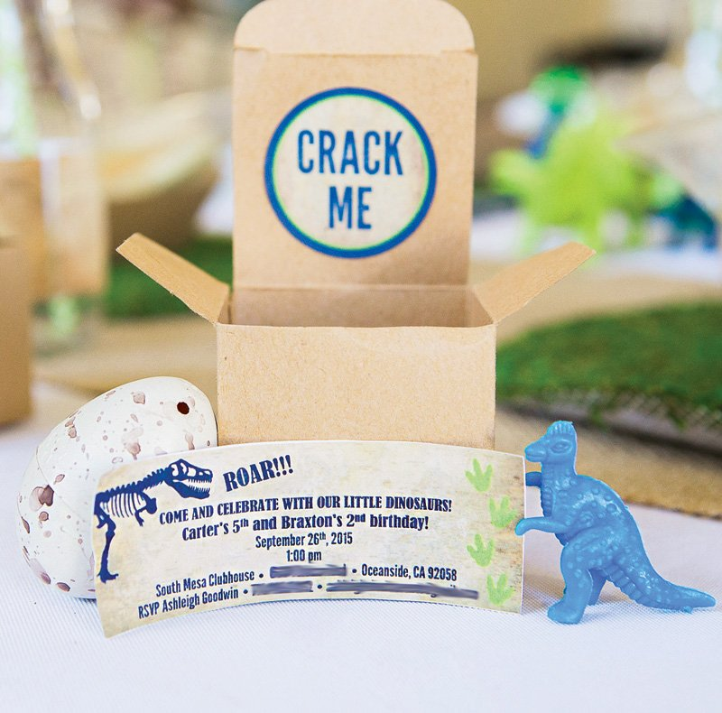 dinosaur crack the egg birthday party invitation