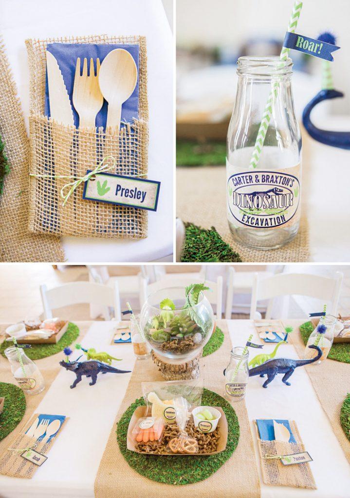 dinosaur birthday party place settings