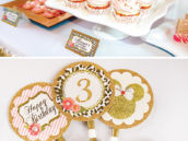 gold glitter and leopard print cupcake toppers