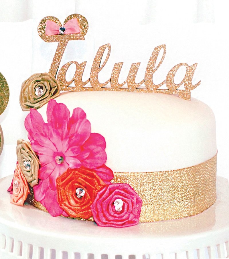 gold glitter name cake topper