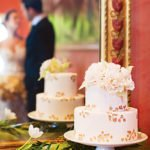 gold leaf weddng cake