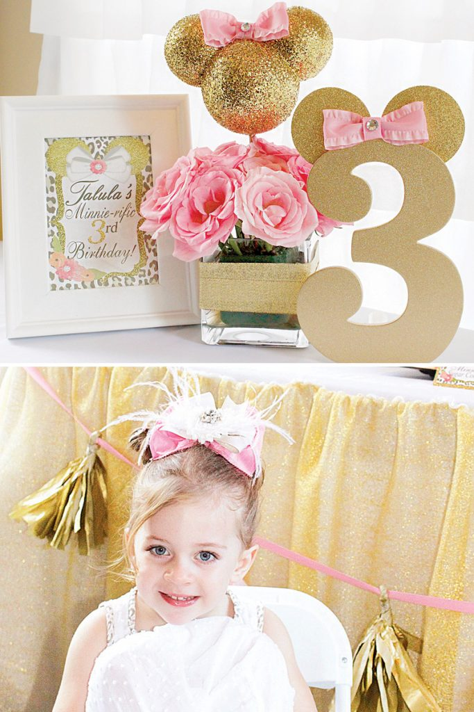 gold glitter minnie mouse birthday party ideas