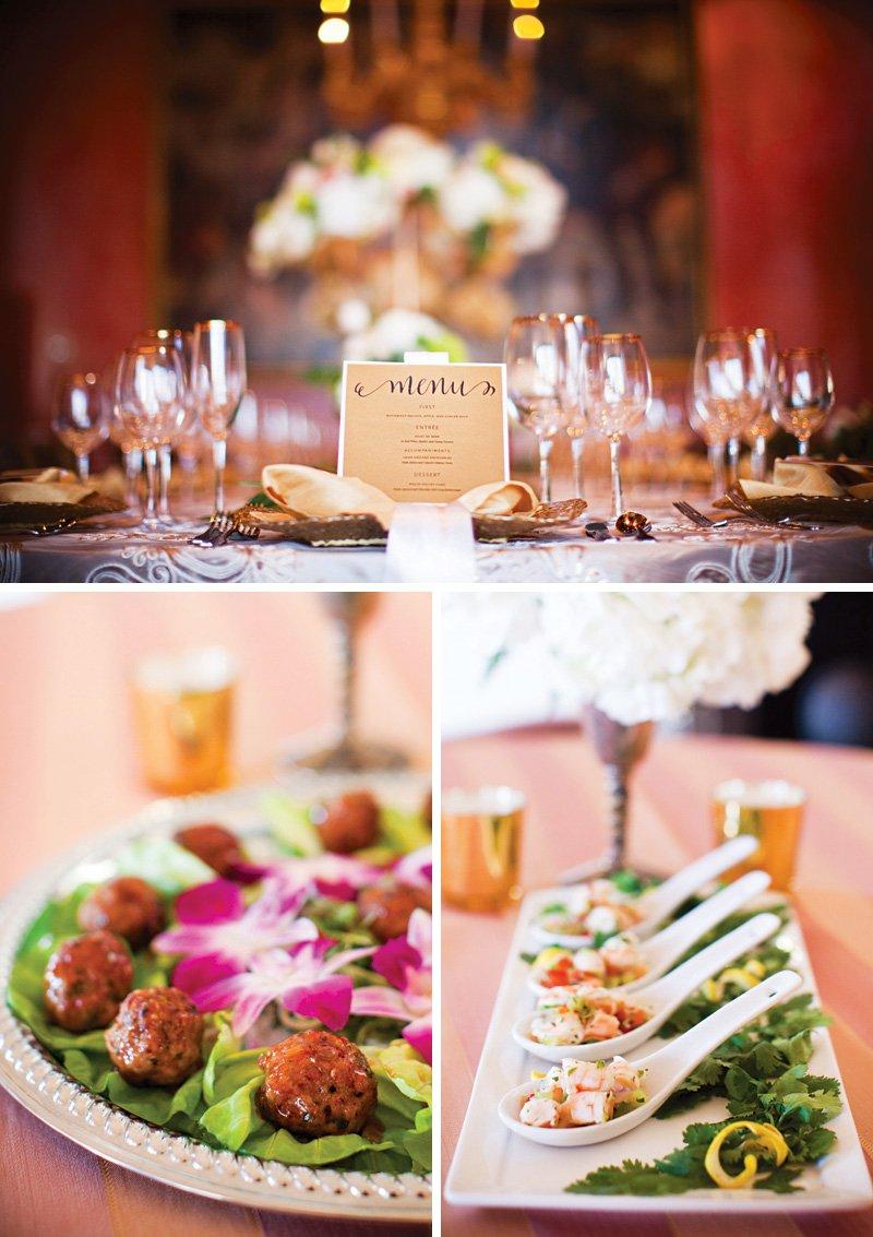 gold printed wedding menu