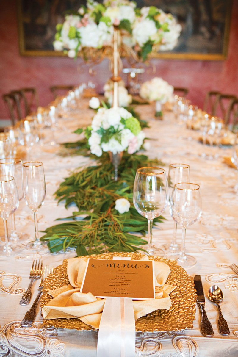 gold and white autumn or fall wedding tablescape