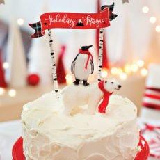 Easy Coca-Cola Cake with Polar Bear Penguin Cake Topper
