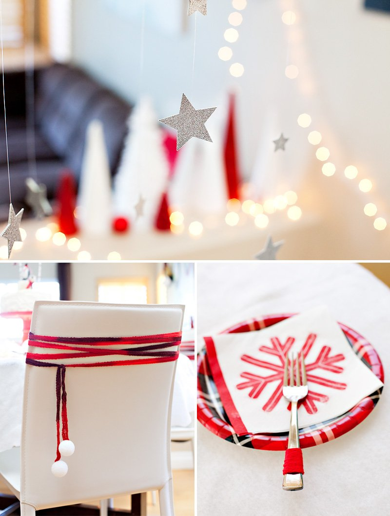 Red and White Snowy Holiday Party Ideas