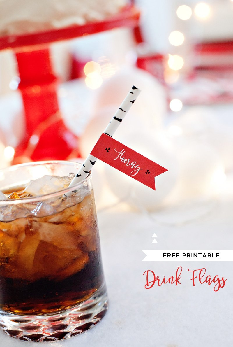 Free Printable Holiday Drink Flags - Red White Black