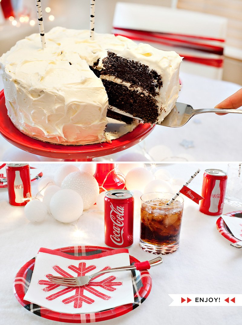Holiday Coca-Cola Cake and Snowball Decorations