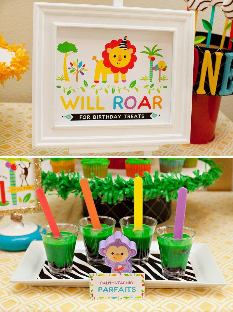 hwtm rainbow safari party dessert table