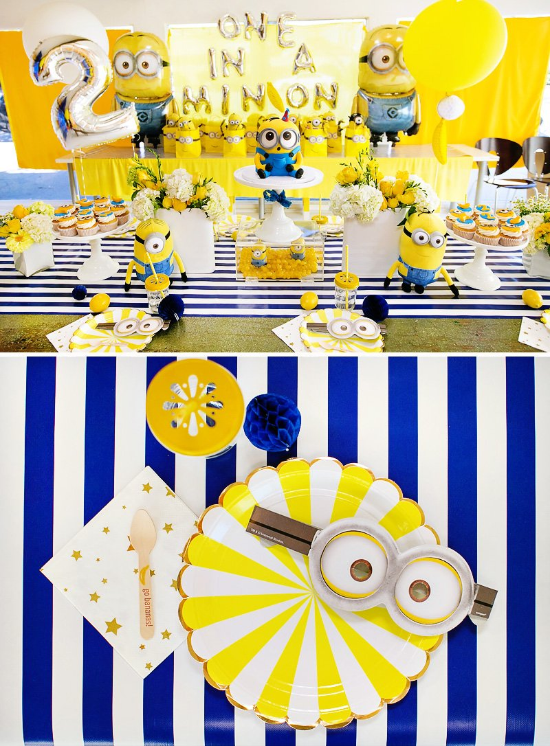 modern bright one in a minion themed birthday party. Black Bedroom Furniture Sets. Home Design Ideas