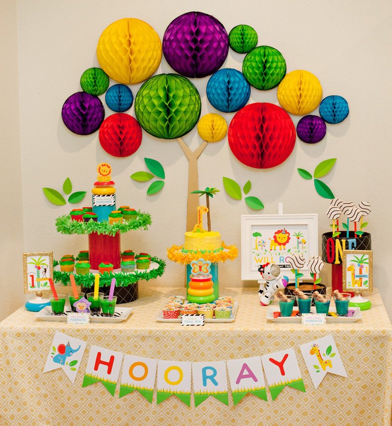 hwtm rainbow safari party dessert table