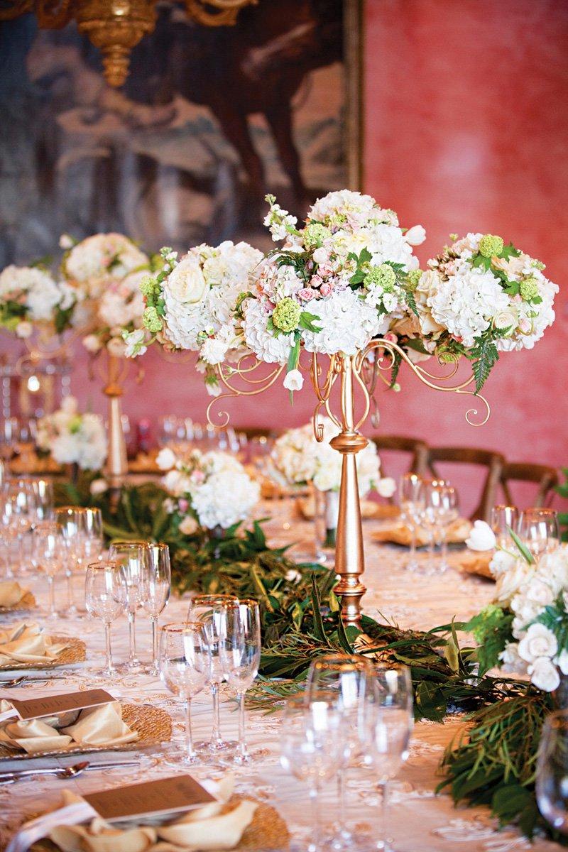 tall gold floral wedding centerpiece ideas