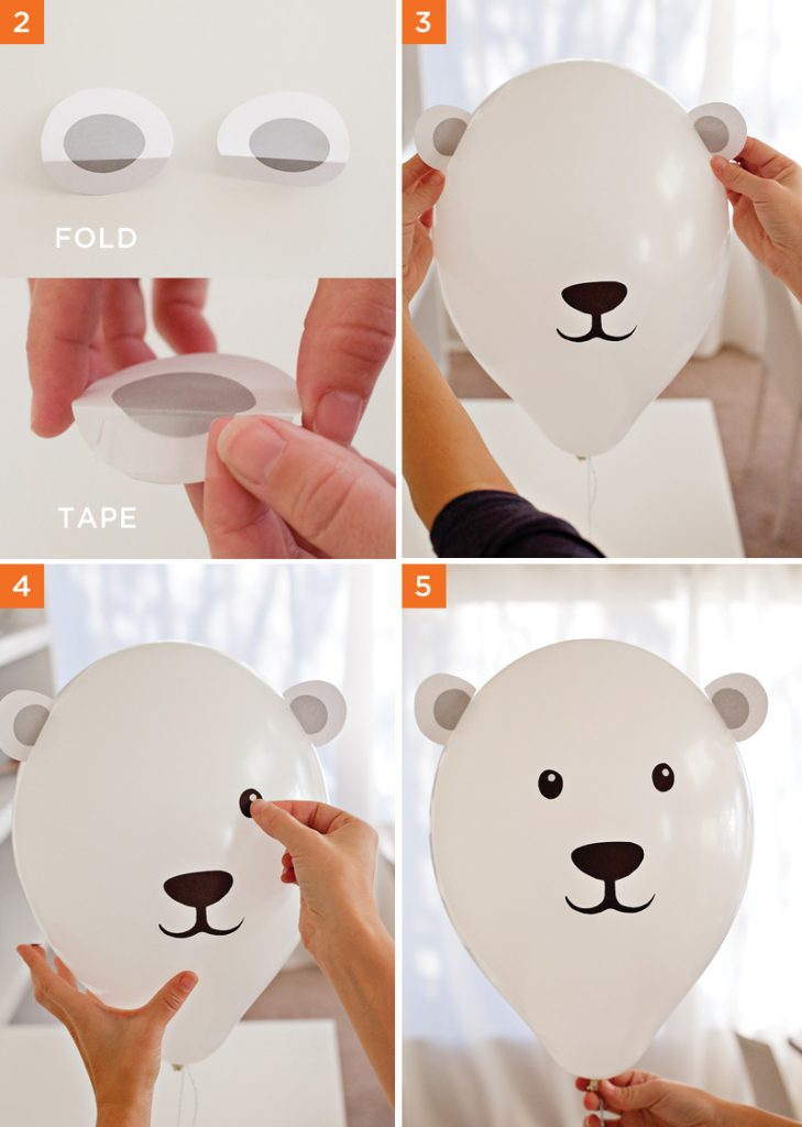DIY Polar Bear Party Balloons - Assembly