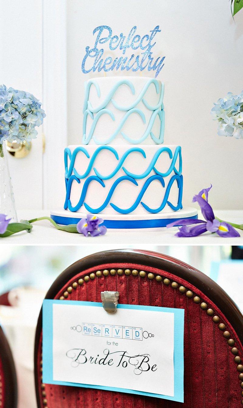 chemistry themed bridal shower cake
