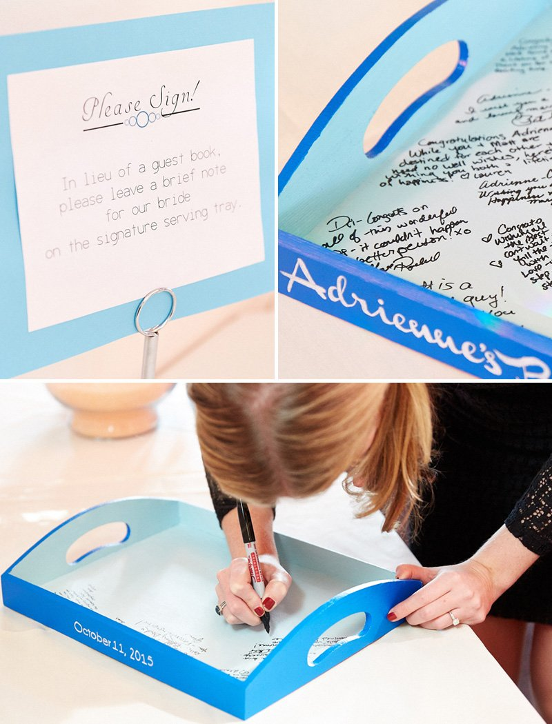 DIY guest book serving tray - bridal shower