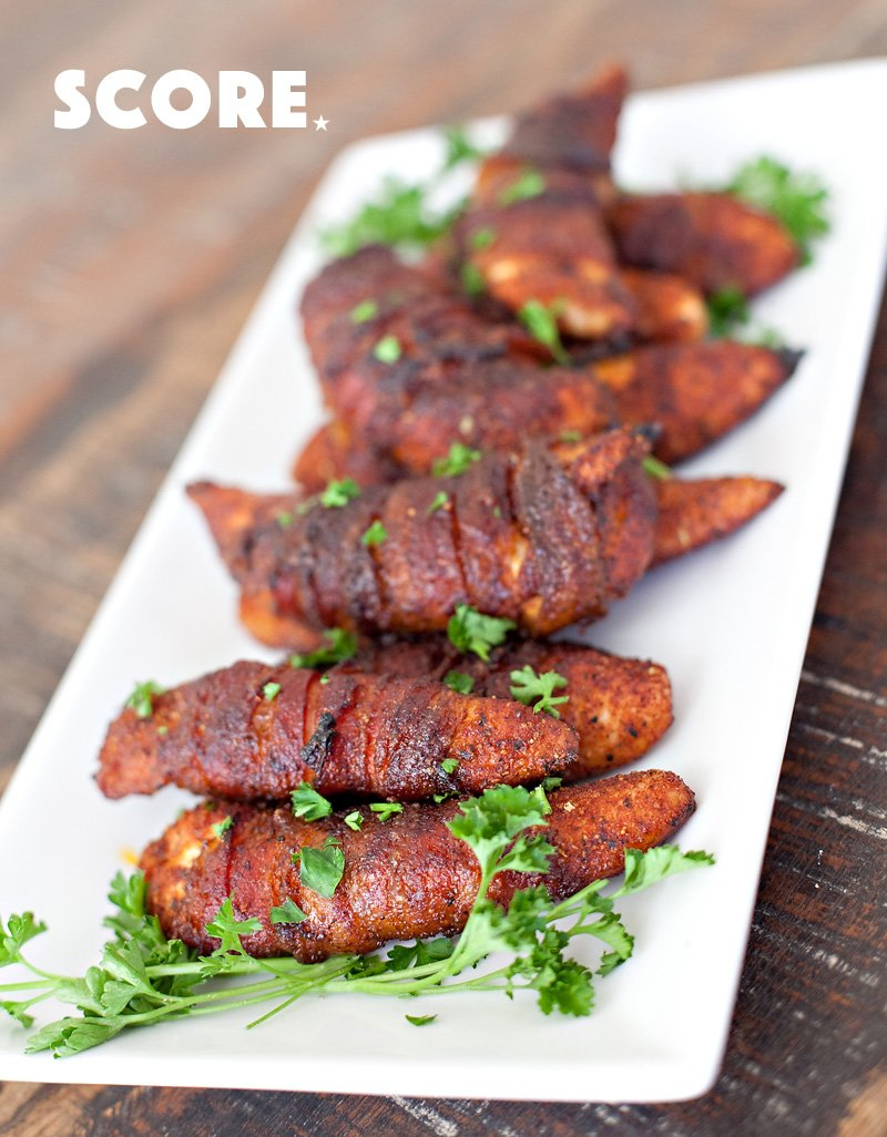 Coke-Soaked Bacon Wrapped Chicken Tenders