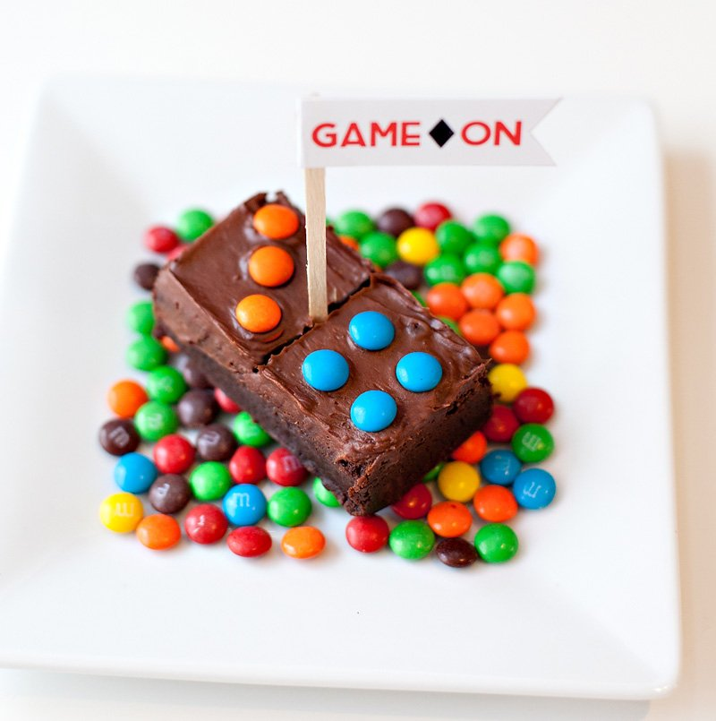Homemade Domino Brownies with Game Night Flags