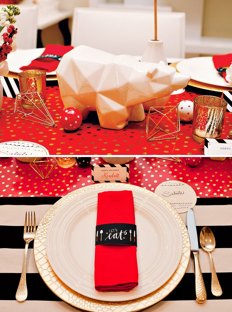 Red Gold Black Holday Table with Ceramic Bear