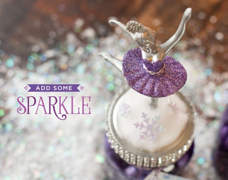 diy glittered ballerina cake topper