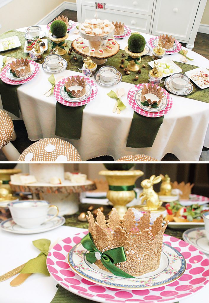 gold crown place settings