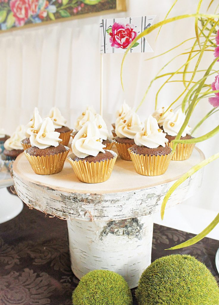 gold pearl topped cupcakes