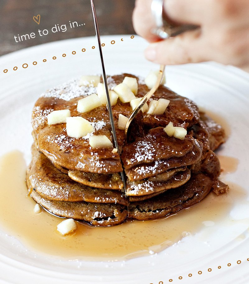 pumpkin apple spice pancake stack