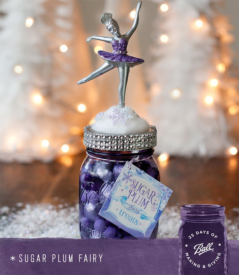 Sugar Plum Fairy Gift Jar - Purple Mason Jar