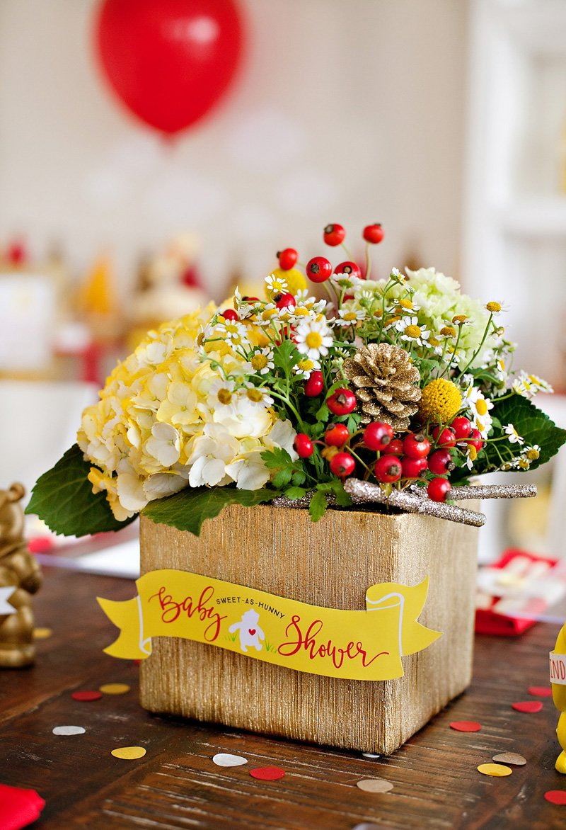 Winnie the Pooh Baby Shower Centerpiece - Red, Yellow, White Flowers