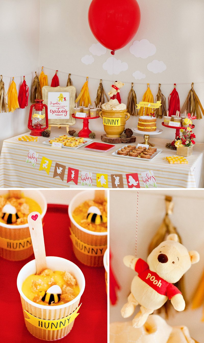 Winne the Pooh Baby Shower Dessert Table Ideas