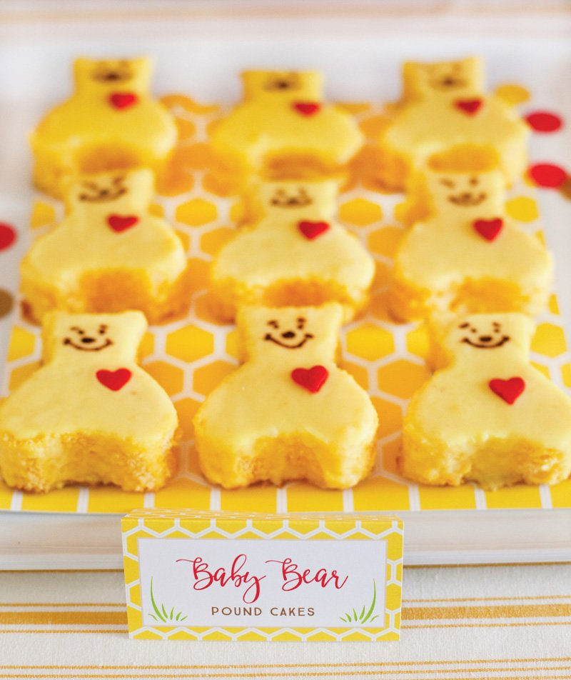 Baby Bear Pound Cakes with red heart sprinkles