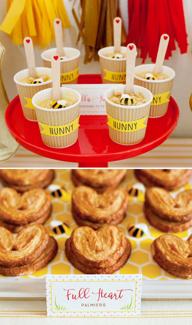 winnie the pooh dessert ideas honey pudding pots and heart palmiers with bees
