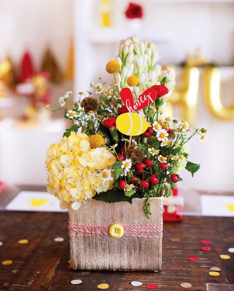 Bee Baby Shower Floral Centerpiece Idea