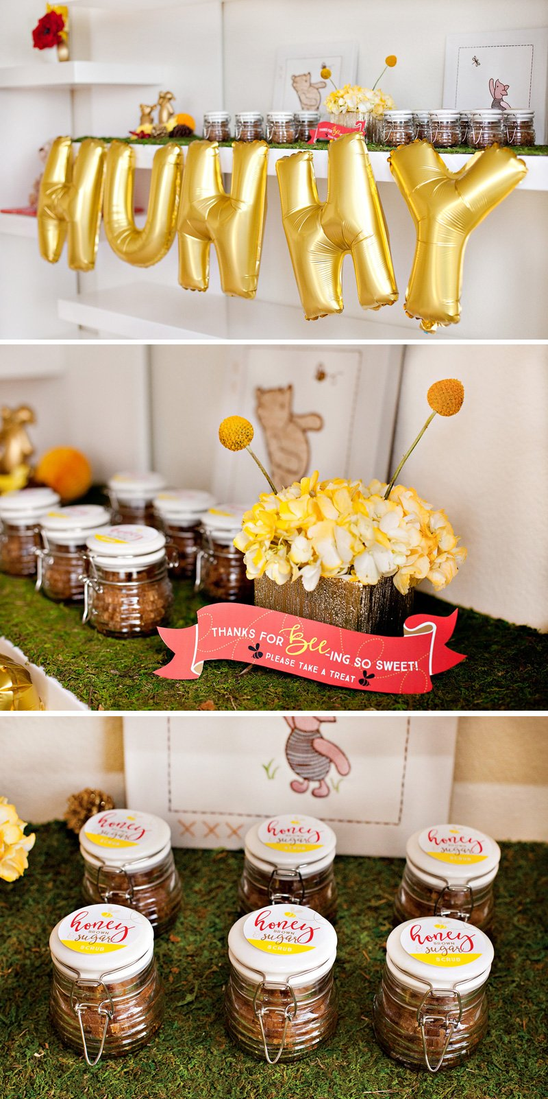 Winnie the Pooh Honey Sugar Scrub Baby Shower Favors