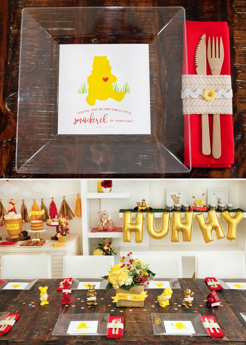 Modern Winnie the Pooh Baby Shower Table + Free Printable Winnie Plate Liners
