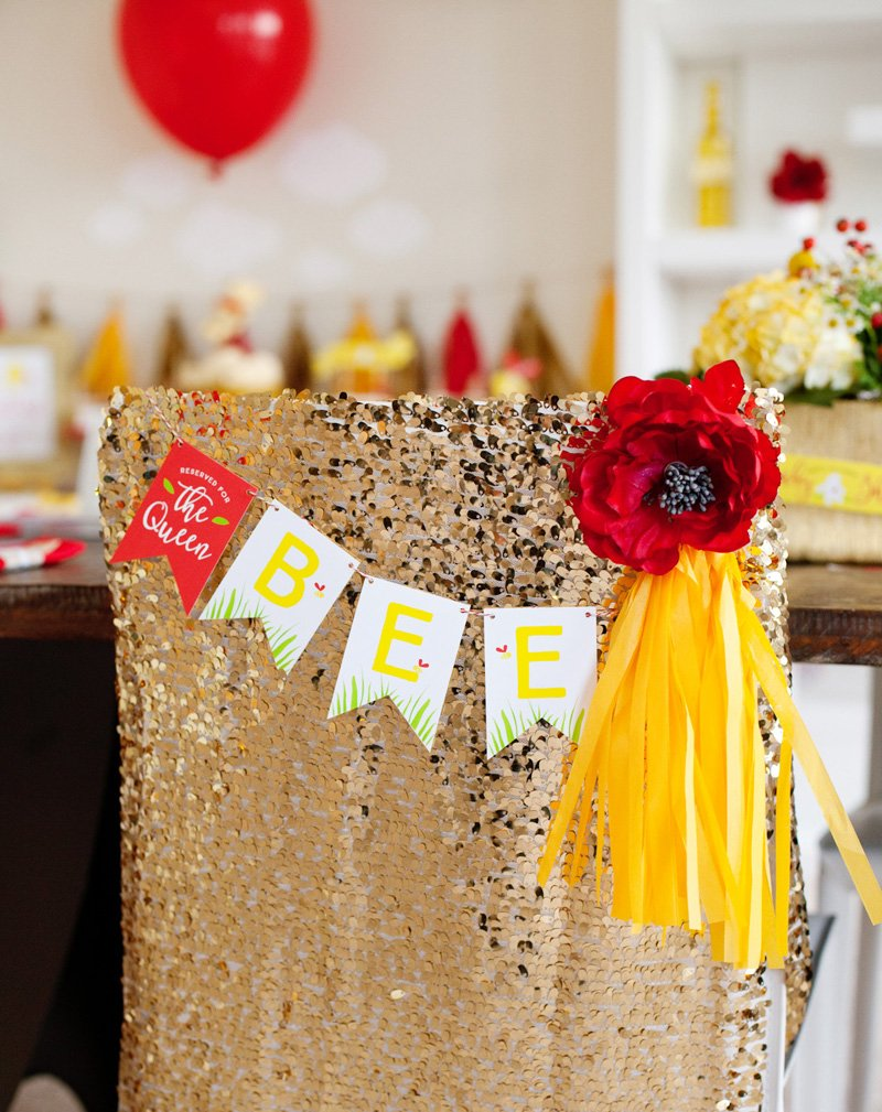 Mom to BEE Chair with gold sequin chair cover and free printable BEE banner