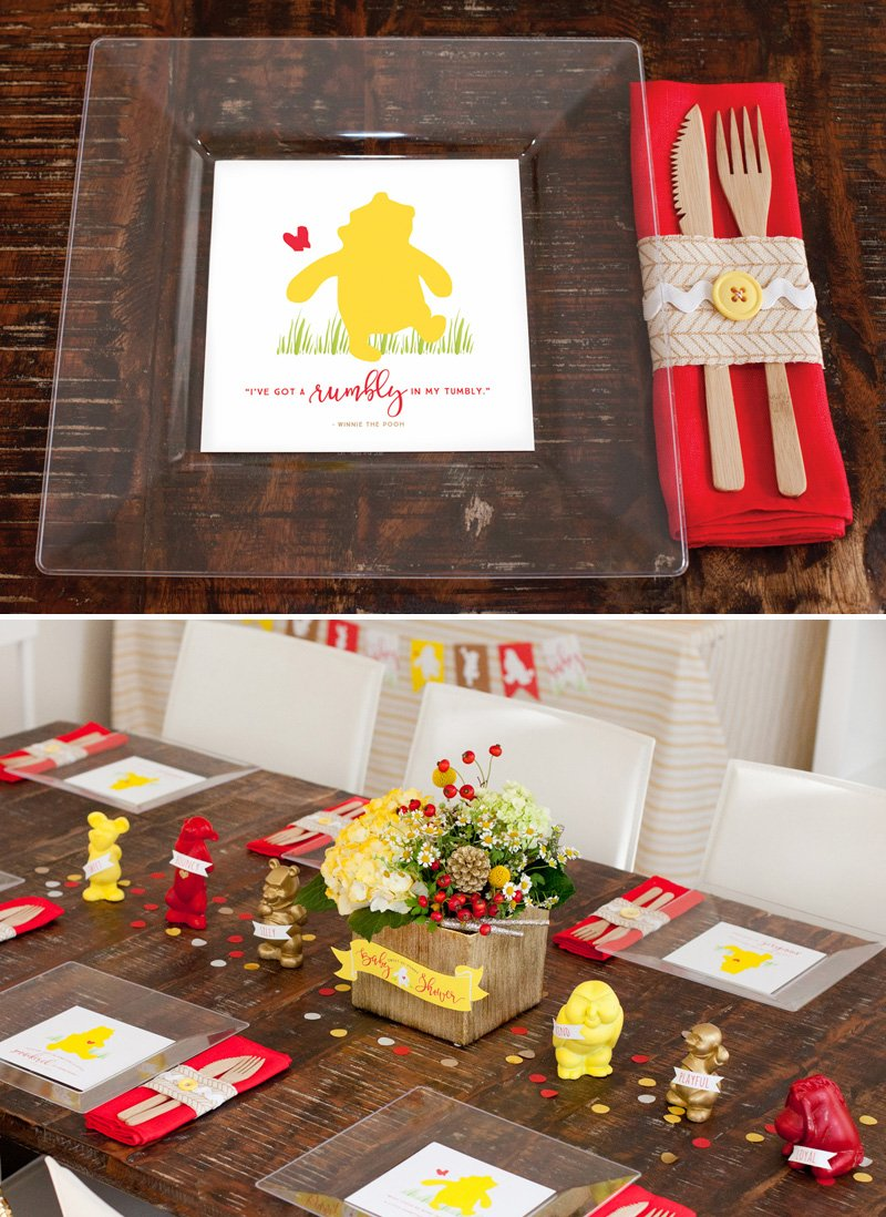 winnie the pooh baby shower plates and table ideas from hwtm