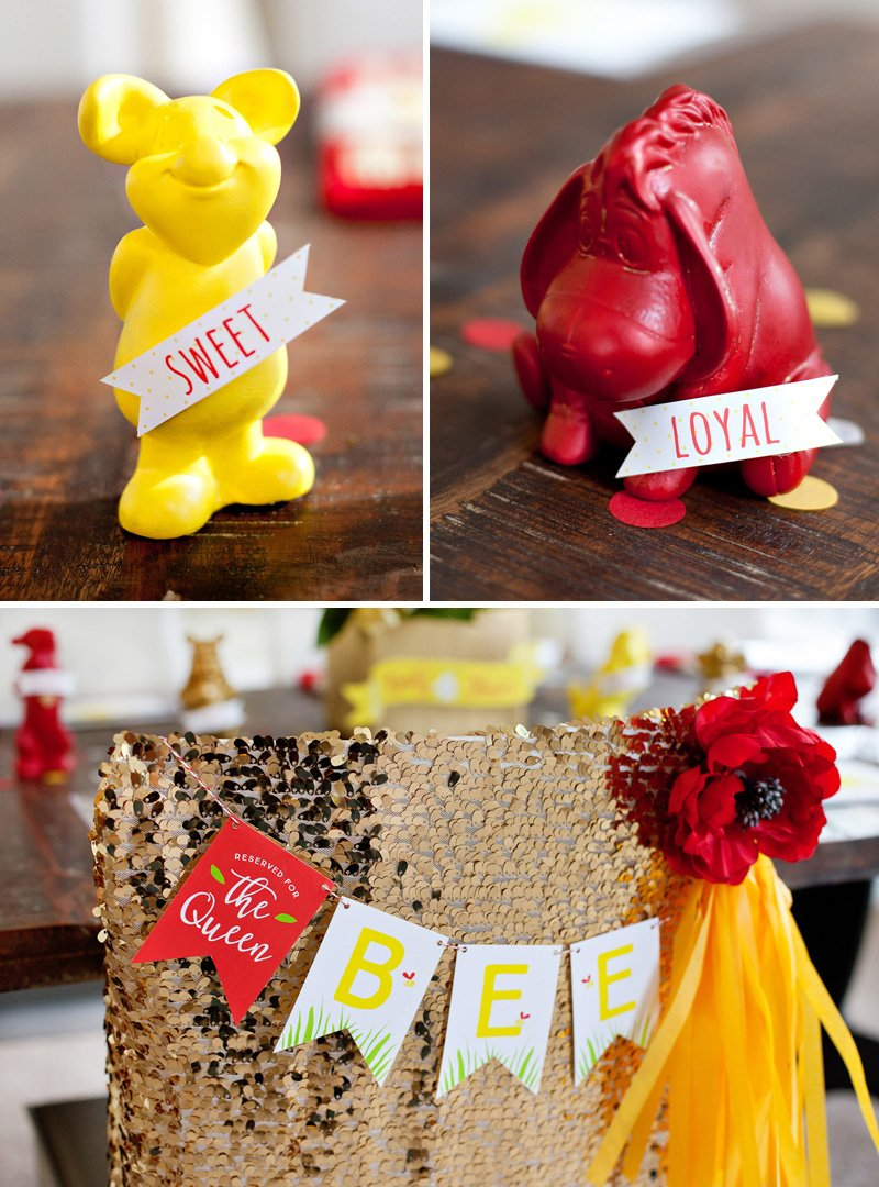 Red And Yellow Winnie The Pooh Baby Shower Decorations