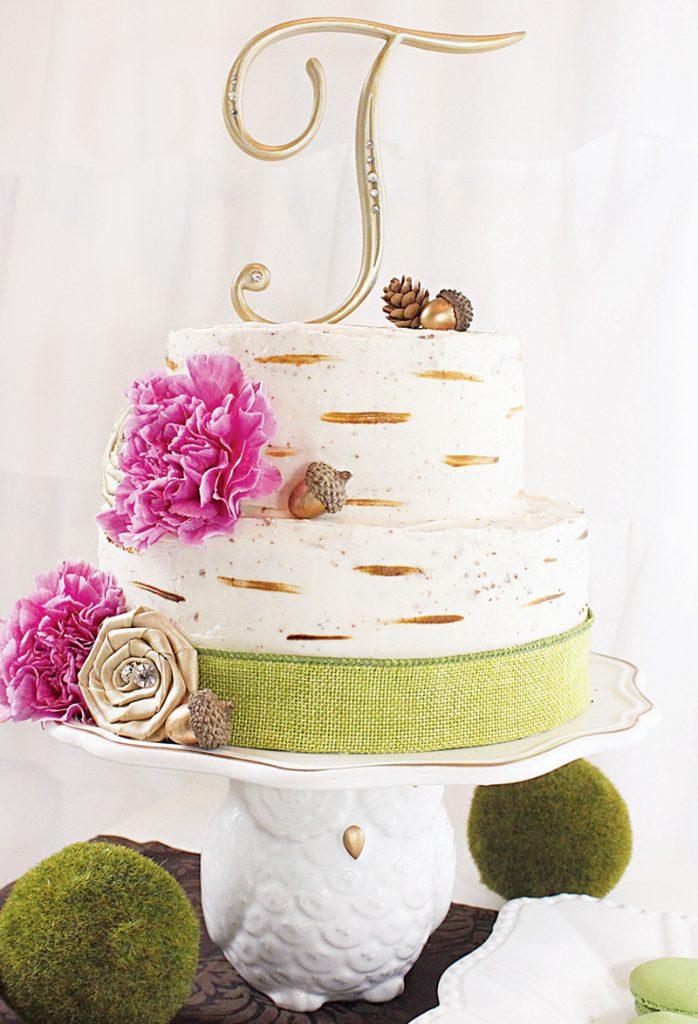 woodland forest tree birthday cake