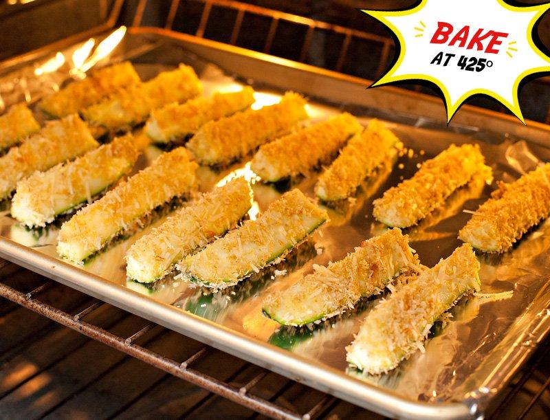 Parmesan Zucchini Sticks Baking