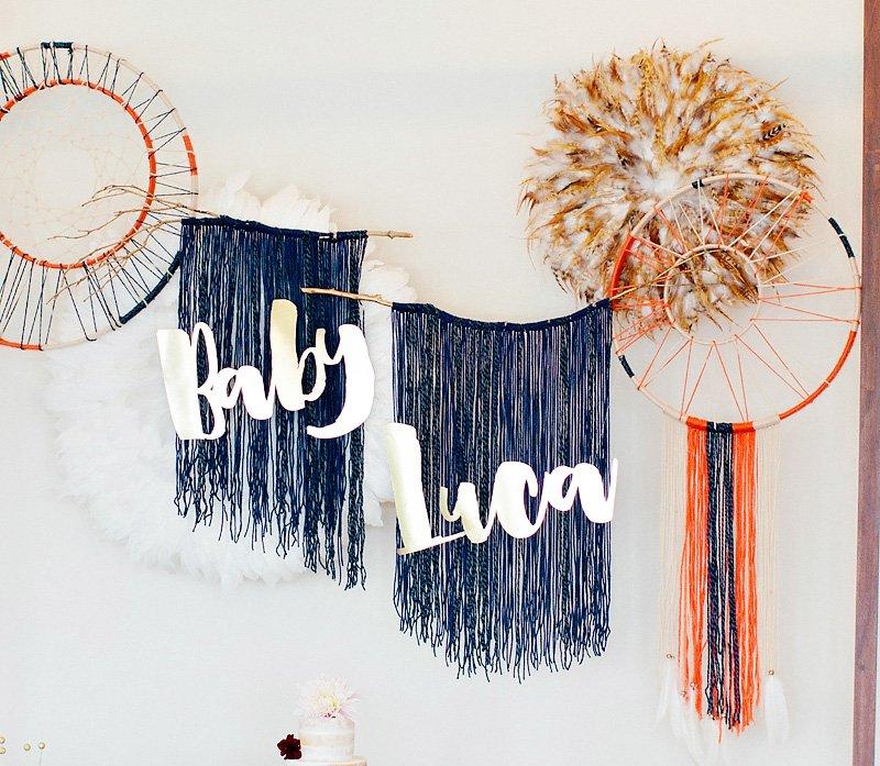 DIY boho chic backdrop make from yarn