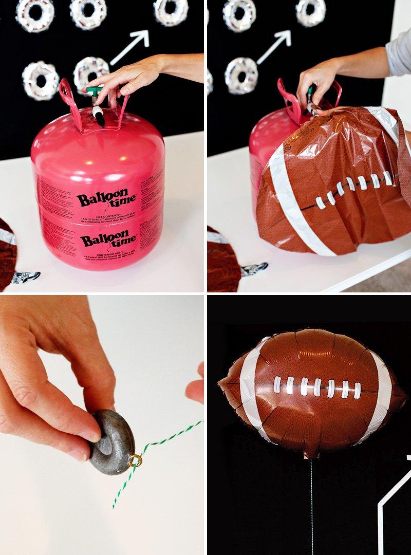 "Balloon Time tank and 18"" mylar football balloons"