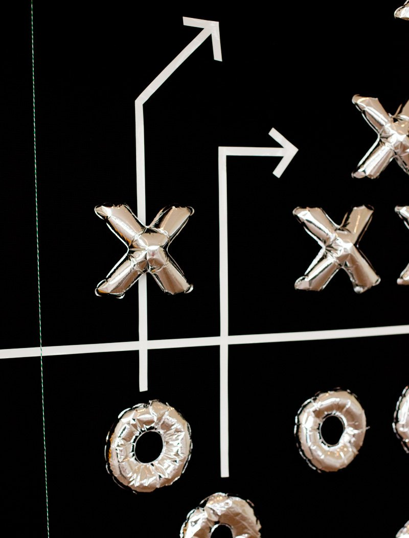 football diagram balloon party backdrop - detail