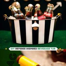 DIY Football Referee Beverage Tub + Bottles with Mini Helmets