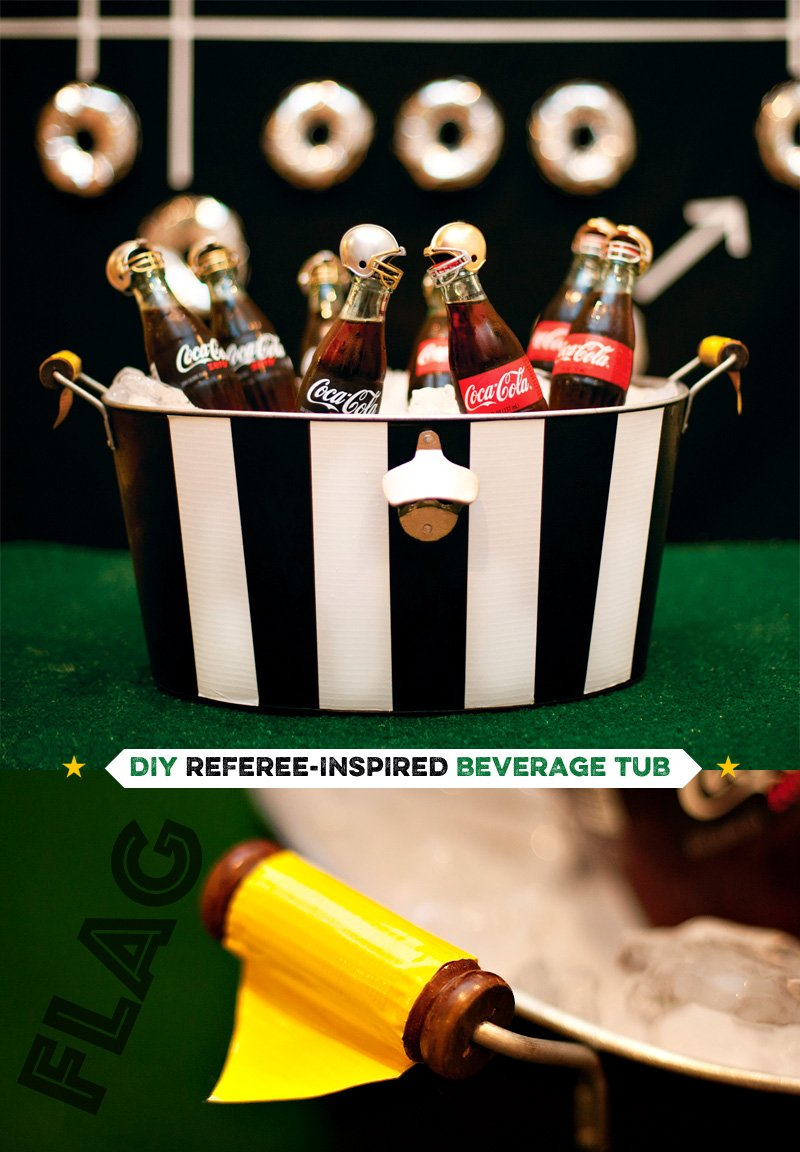 DIY Football Referee Beverage Tub + Bottles with Mini Helmets