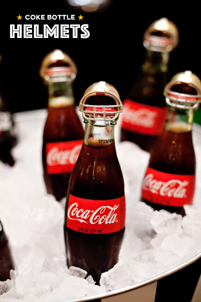 Coca-Cola Bottles with Mini Football Helmets